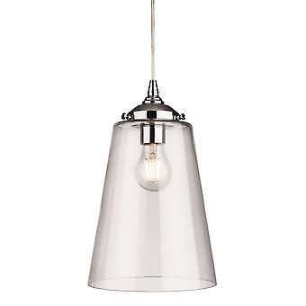 Firstlight Siviglia 1 Light Dome Pendant Light Chrome con Clear Glass 3728CH