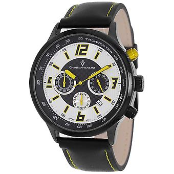 Christian Van Sant Hommes apos;s Speedway Silver/Yellow Dial Watch - CV3120