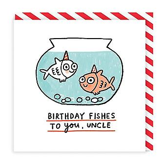 Anniversaire Fishes Oncle Square Carte d'anniversaire