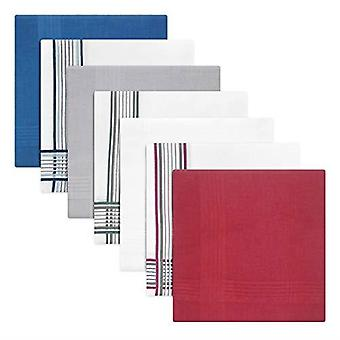 Pack Of 7 Mens/Gentlemens Dyed Handkerchiefs With Coloured & White Satin Borders, 100% Cotton, 40 x 40cms