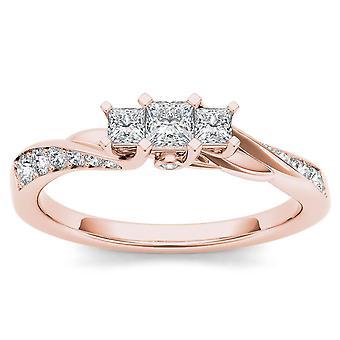 Igi certified 14k rose gold 0.60 ct princess diamond three stone engagement ring