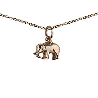 9ct Gold 7x10mm Indian Elephant Pendant with a 1.1mm wide cable Chain 20 inches