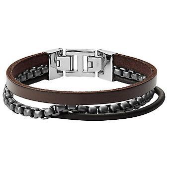 Fossil bracelet JF03319998 - VINTAGE CASUAL Silver Steel Silver Leather Maro on Men