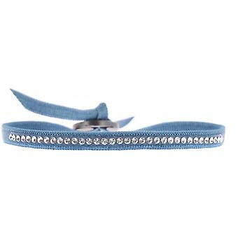 Bracelet Les Interchangeables A31908 - Bracelet Tissu Bleu Cristaux Swarovski Femme