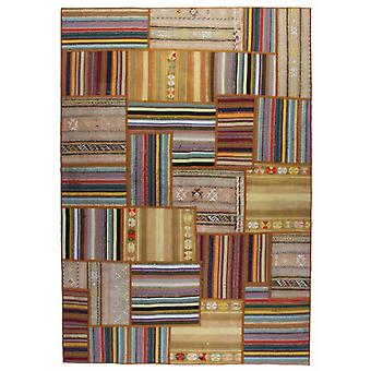 Hand-knotted Persian Patchwork mat Multicolored 163x236cm