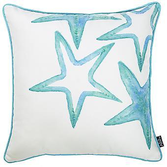 Valkoinen ja vesisininen meritähti koristeellinen heittää tyynynpäällinen