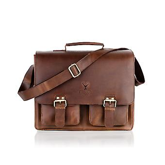 Large Tan Satchel Briefcase Flap Over, 16.0