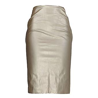 G.I.L.I. got it love it Skirt Faux Leather Pencil w/ Zipper Gold A273271 PTC