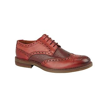Roamers Red Tan Leather 4 Eye Reptile Pattern Brogue Leather Lining & Sock Rubber Sole