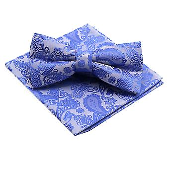 China blue paisley bow tie & matching pocket square set