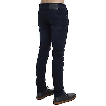 Acht Dark Blue Cotton Stretch Slim Skinny Fit Jeans