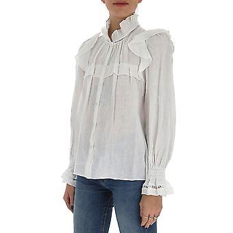 Isabel Marant ÉToile Ht169720p025e20wh Women's White Cotton Blouse