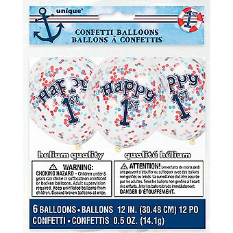 Unique Party Clear 12 Inch Nautical 1st Birthday Confetti Balloons (pack of 6)
