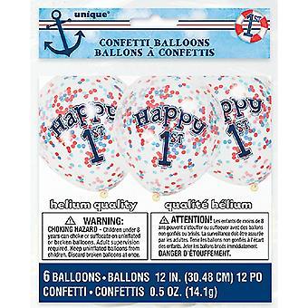 Único partido claro 12 pulgadas náutica 1er cumpleaños confeti globos (paquete de 6)