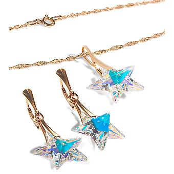 Ah! Jewellery Aurore Boreale Crystals From Swarovski Star Set, Stamped 925
