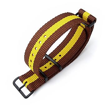 Strapcode n.a.t.o watch strap miltat 20mm, 22mm or 24mm g10 nato military watch strap ballistic nylon armband, pvd black - brown & yellow