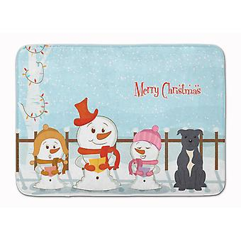 Merry Christmas Carolers Staffordshire Bull Terrier Blue Machine Washable Memory