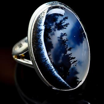 Large Dendritic Opal Ring Size 12 (925 Sterling Silver)  - Handmade Boho Vintage Jewelry RING3219