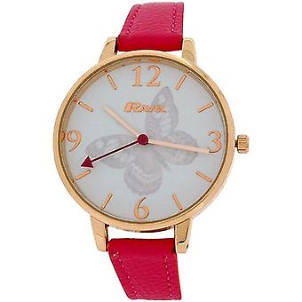 Ravel Ladies Rose goldtone Butterfly Dial Hot Pink PU Strap Watch R0128.15.2