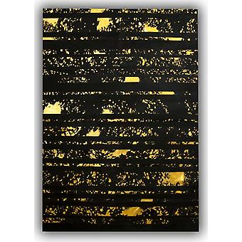 Rugs -Patchwork Leather Striped Cowhide - Black & Acid Gold
