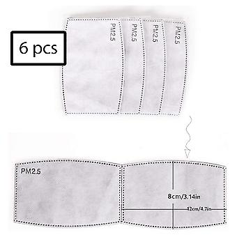 6 pieces PM 2.5 filters for face mask - mouth mask - gray