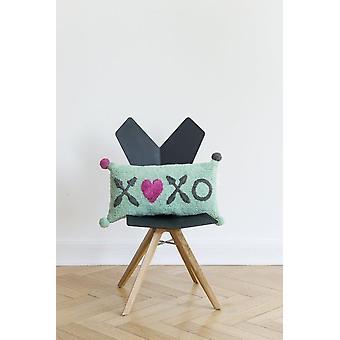 Dreptunghiular cameră copil pernă pupici și îmbrățișări verde 30x60cm