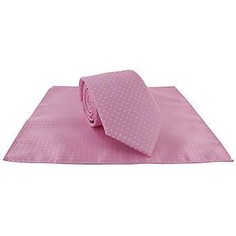 Michelsons of London Spot Polyester Tie and Pocket Square Set - Pink/White