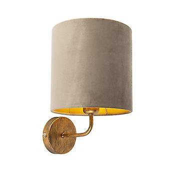 QAZQA Vintage lampe murale or avec ombre de velor taupe - Matt
