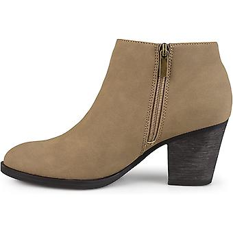 Journee Collection Womens High Heeled Round Toe Chunky Heel Ankle Booties Tau...