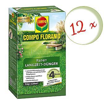 Sparset: 12 x COMPO Floranid® Długoterminowy nawóz trawnikowy, 3 kg