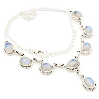 Moonstone Necklace 925 Silver Sterling Silver Chain Necklace White (MCO 07-04)