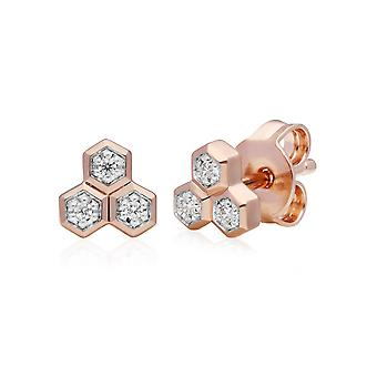 Diamond Pave Geometric Trilogy Stud Earrings in 9ct Rose Gold 191E0394029