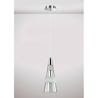 Pendentif Light Emilia Single 1 Bulb E14 Poli Chrome / Crystal
