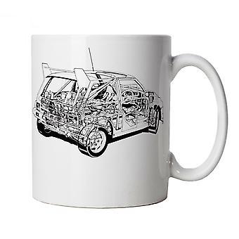 Metro 6R4 Rally Car Diagram Mug - Xmas Gift Him Dad Fathers Day Birthday