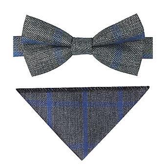 Jongens Check Tweed strikje en zak plein in grijs en blauw
