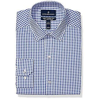 """BUTTONED DOWN Men's Tailored Fit Tech Stretch CoolMax Easy Care Dress Shirt, Navy Gingham, 17"""" Neck 34""""-35"""" Sleeve"""