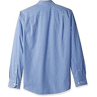 Essentials Men's Slim-Fit Long-Sleeve Casual Poplin Shirt, Blue Mini-G...