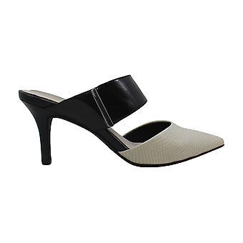 Alfani Womens Jalessia Leather Dress Heels Black-Ivory 8 Medium (B,M)