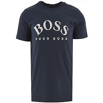 BOSS Navy Cotton Kaareva Logo T-paita