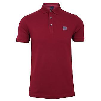 Hugo boss men's dark red passenger polo shirt