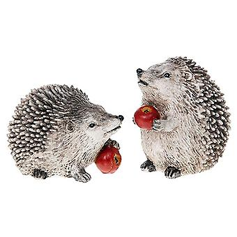 Pair of Sweet Country Hedgehogs With Apples from an Orchard - Ornament Shudehill