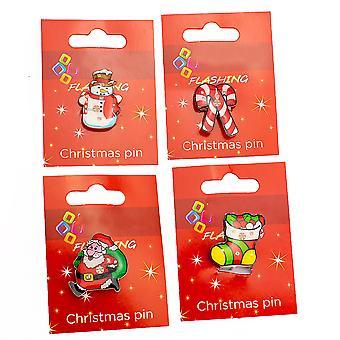 Flashing Christmas Theme Pin Badge - Cracker Filler Gift