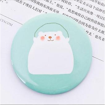 Portable  Compact  Round Makeup Mirro With Multi Styles Printed Cartoon Pattern For Women And Girls