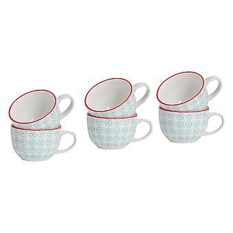 Nicola Spring Patterned Vintage Style Tea Cups, Cappuccino, Coffee - Turquoise Sun Swirl Design, 250ml - Set of 6