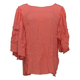 DG2 av Diane Gilman Kvinner's Topp Ruffle-Sleeve Crinkle Strikke Tee Rosa 655-287