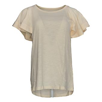 DG2 by Diane Gilman Women's Top Cream Ivory Tunic Short Sleeve 718-519