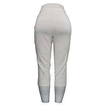 Vrouwen met Controle Vrouwen's Petite Pants Capri Crop White A307764