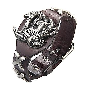 Punk Genuine Leather Wrap Polsband Bangle Alloy Eagle Armband voor heren