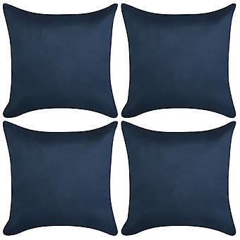 vidaXL Pillow Covers 4 pezzi. 80x80 cm Poliestere camoscio opticnavy