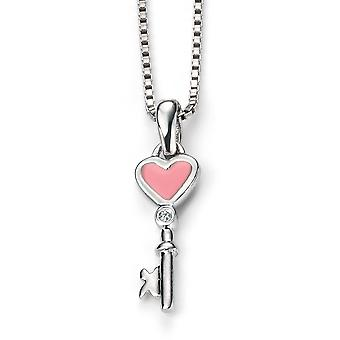 D for Diamond Childrens 925 Sterling Silver Rhodium Plated & Pink Enamel Diamond Key Pendant on a 35cm Chain
